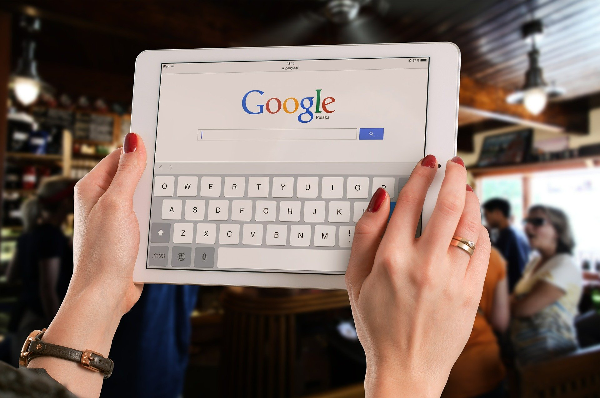 google search engine on tablet